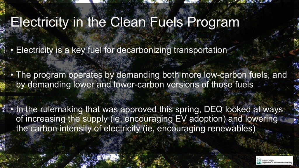 Electricity in the Clean Fuels Program • Electr...