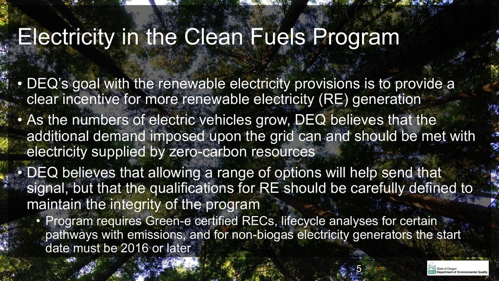 Electricity in the Clean Fuels Program • DEQ's ...