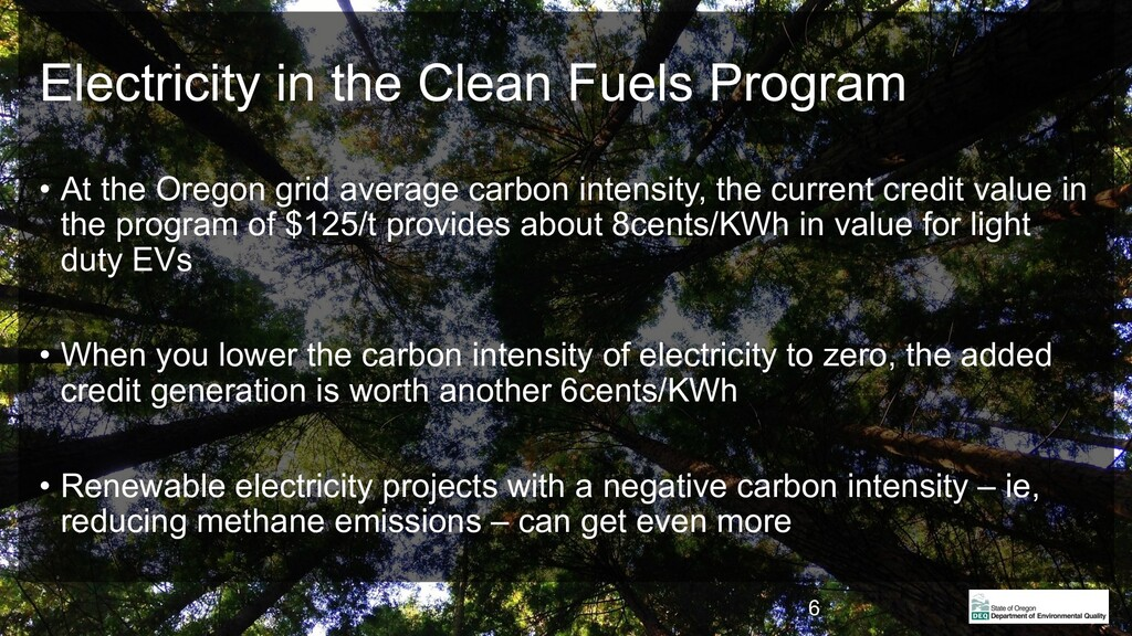 Electricity in the Clean Fuels Program • At the...