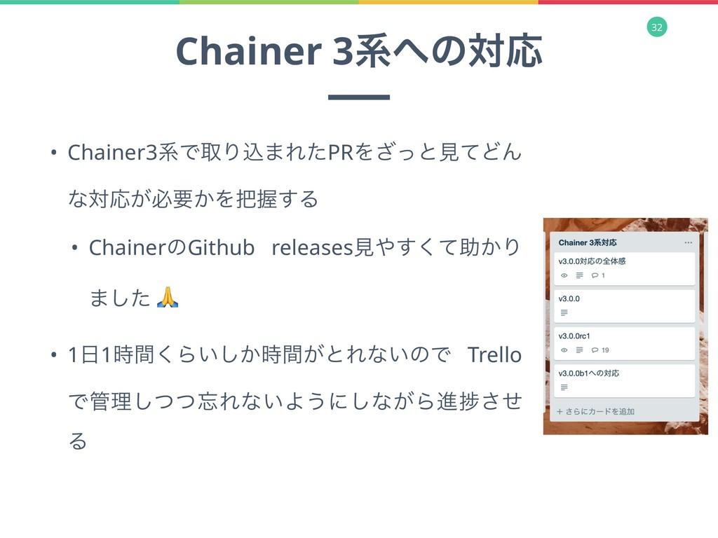32 Chainer 3ܥͷରԠ • Chainer3ܥͰऔΓࠐ·ΕͨPRΛͬ͟ͱݟͯͲΜ ...