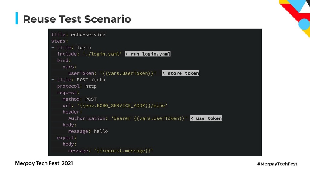 #MerpayTechFest Reuse Test Scenario title: echo...