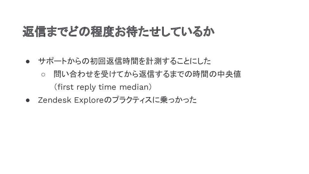 ● サポートからの初回返信時間を計測することにした ○ 問い合わせを受けてから返信するまでの時...