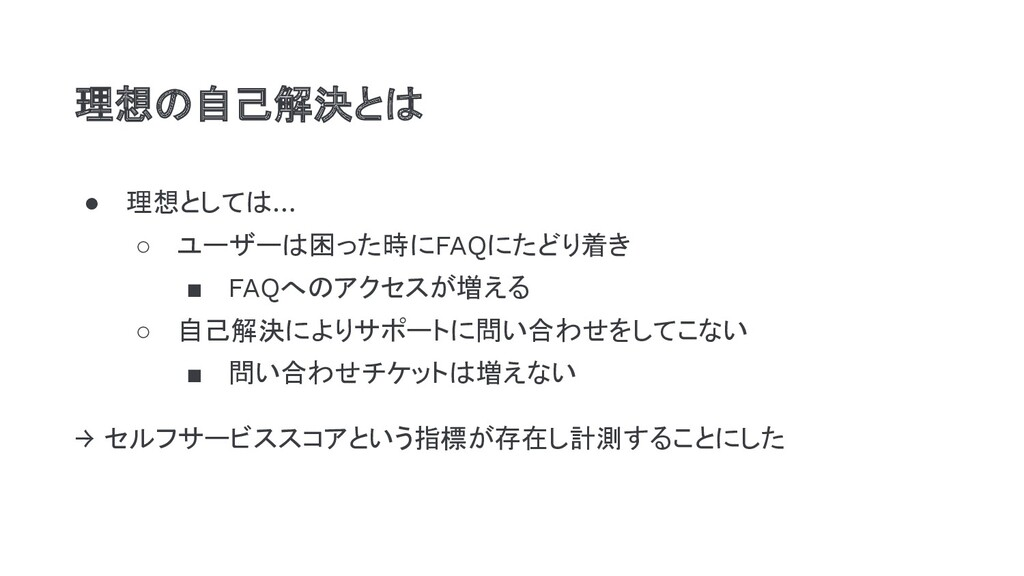 ● 理想としては… ○ ユーザーは困った時にFAQにたどり着き ■ FAQへのアクセスが増える...