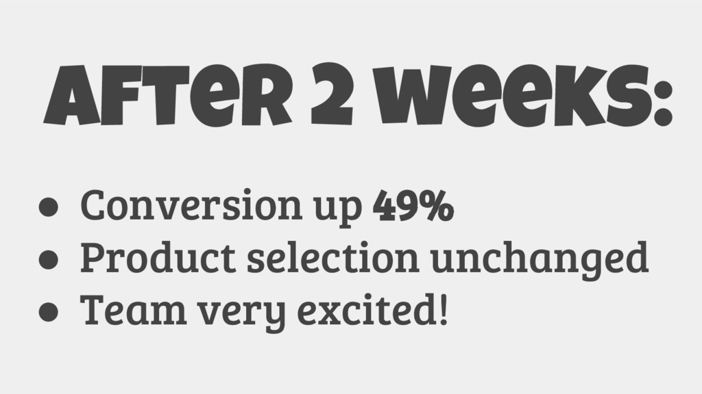 After 2 weeks: ● Conversion up 49% ● Product se...