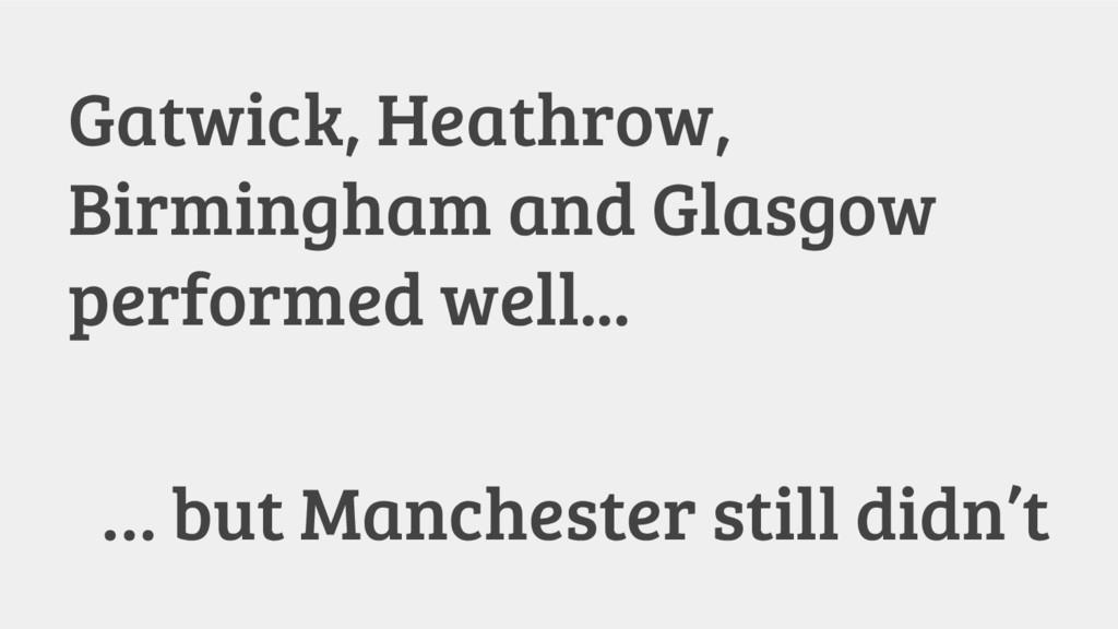 Gatwick, Heathrow, Birmingham and Glasgow perfo...