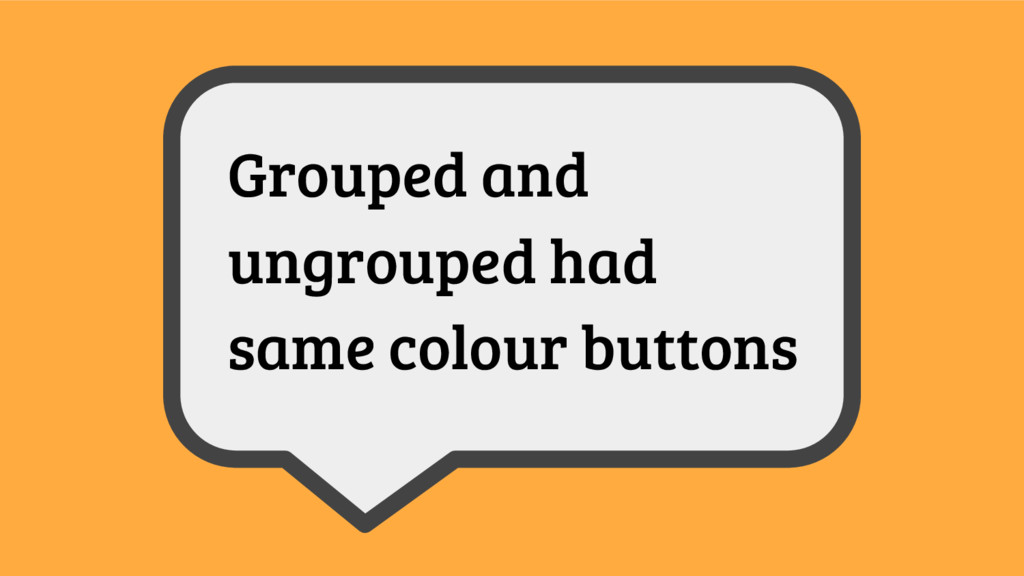 Grouped and ungrouped had same colour buttons