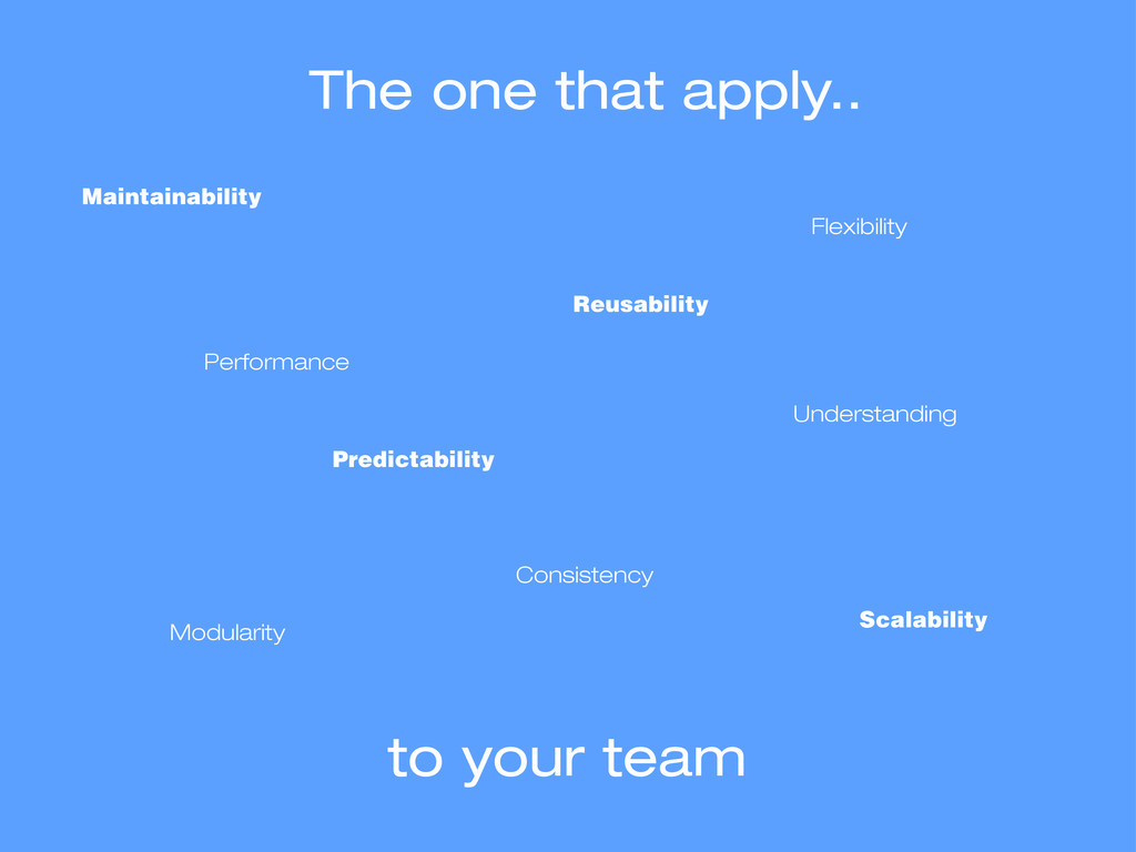 The one that apply.. Scalability Modularity Per...