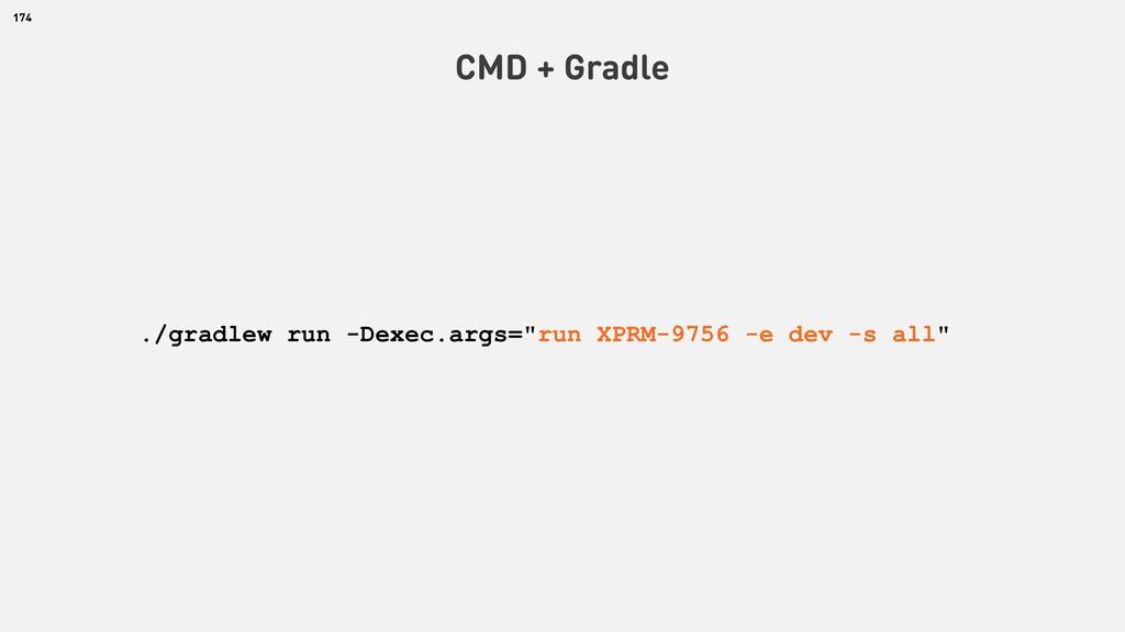 """174 CMD + Gradle ./gradlew run -Dexec.args=""""run..."""