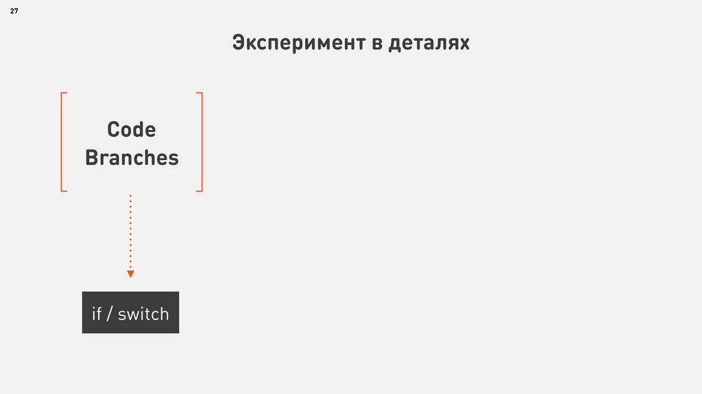 27 Эксперимент в деталях Code Branches if / swi...