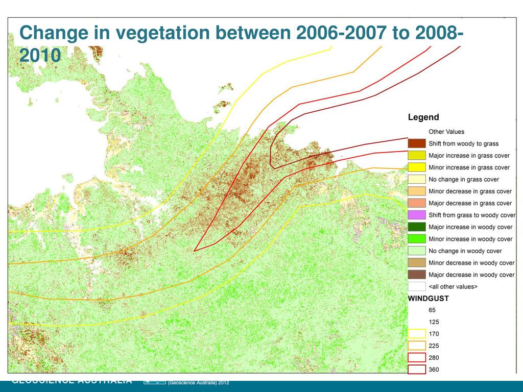 Change in vegetation between 2006-2007 to 2008-...