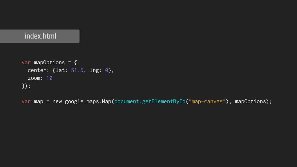index.html var mapOptions = { center: {lat: 51....