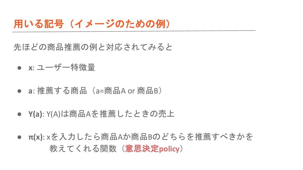 用いる記号(イメージのための例) 先ほどの商品推薦の例と対応されてみると ● x: ユーザー特...