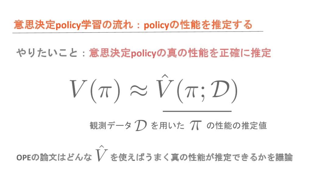 意思決定policy学習の流れ:policyの性能を推定する 観測データ を用いた の性能の推...