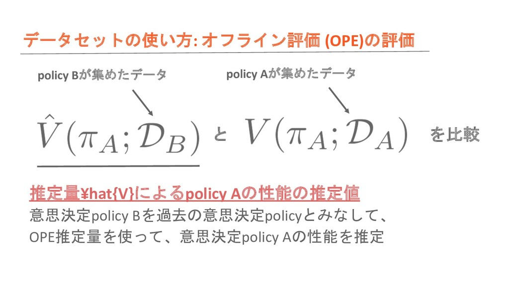 データセットの使い方: オフライン評価 (OPE)の評価 と を比較 推定量¥hat{V}によ...