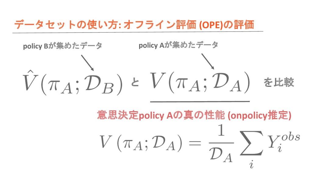 データセットの使い方: オフライン評価 (OPE)の評価 と を比較 意思決定policy A...
