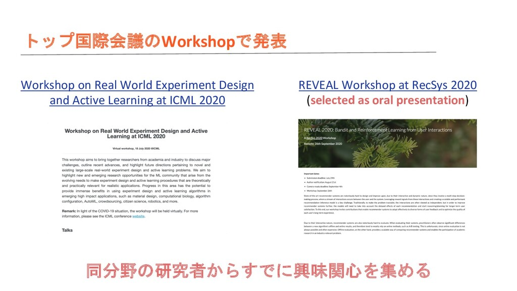 トップ国際会議のWorkshopで発表 同分野の研究者からすでに興味関心を集める Worksh...