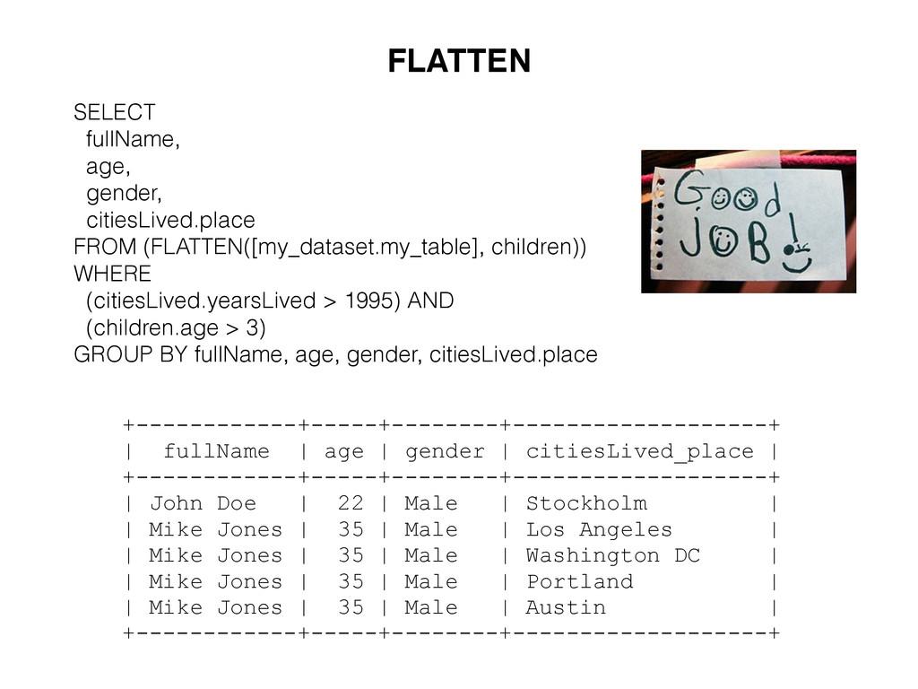 FLATTEN SELECT fullName, age, gender, citiesLiv...