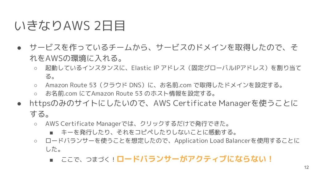 いきなりAWS 2日目 ● サービスを作っているチームから、サービスのドメインを取得したので、...