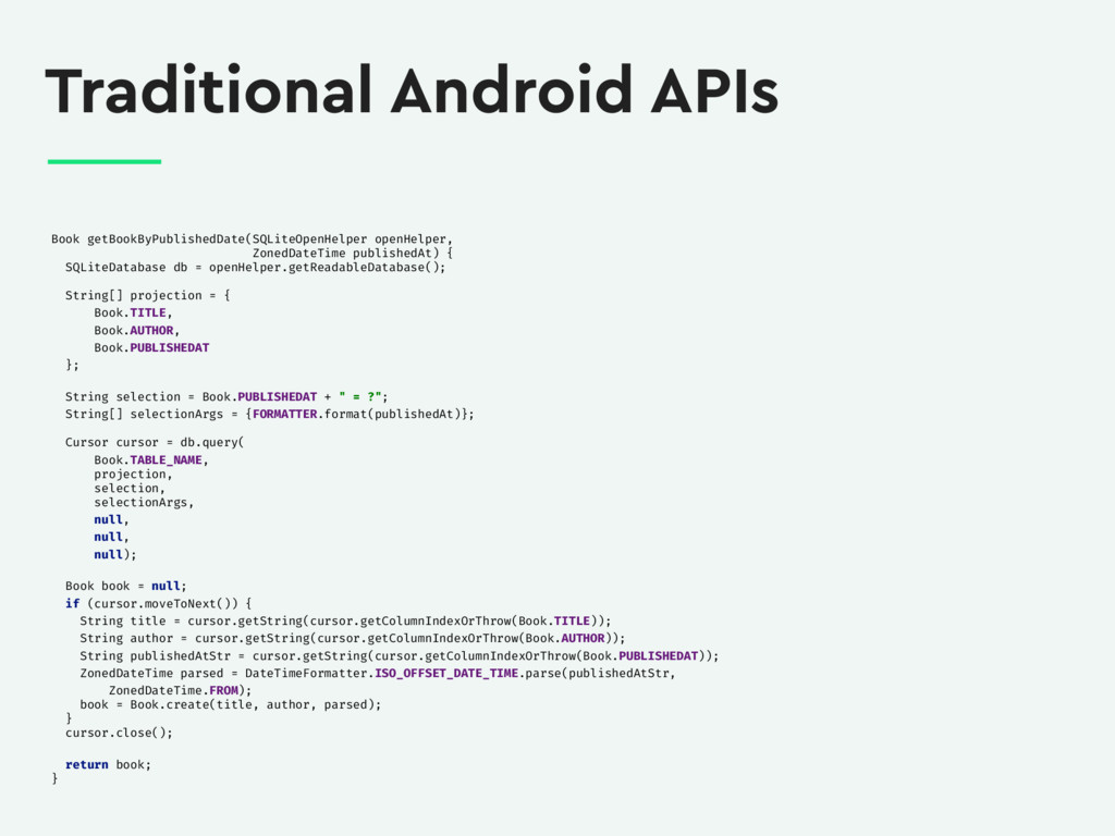 Traditional Android APIs Book getBookByPublishe...
