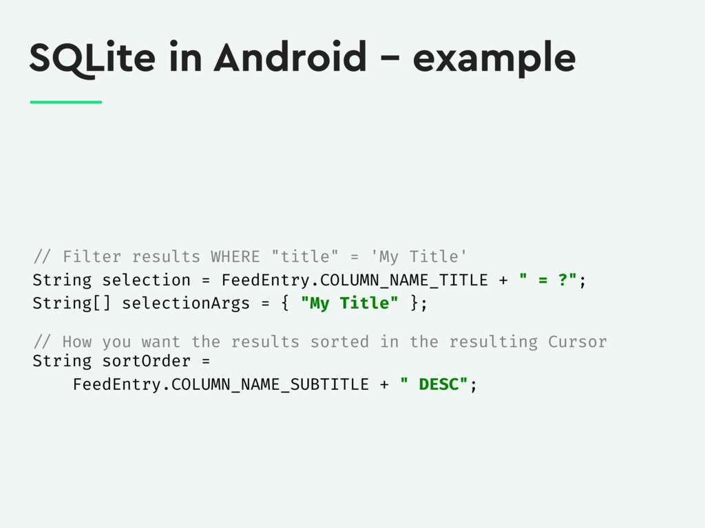 SQLite in Android – example // Filter results W...