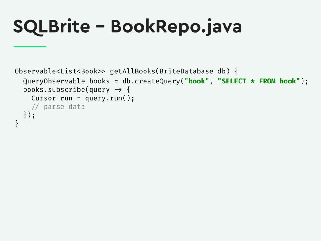 SQLBrite – BookRepo.java Observable<List<Book >...