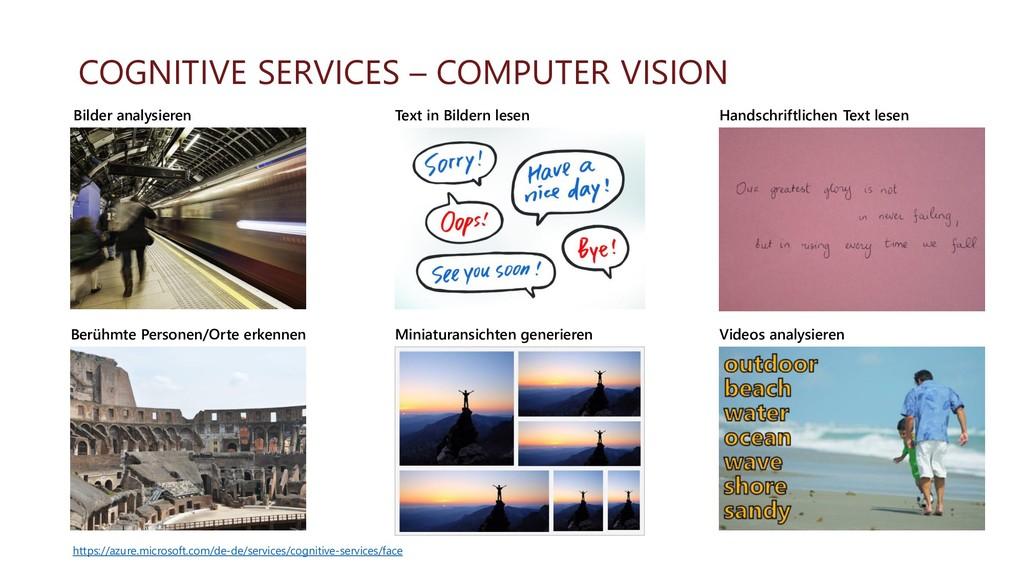 COGNITIVE SERVICES – COMPUTER VISION Berühmte P...