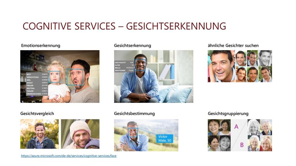COGNITIVE SERVICES – GESICHTSERKENNUNG Gesichts...
