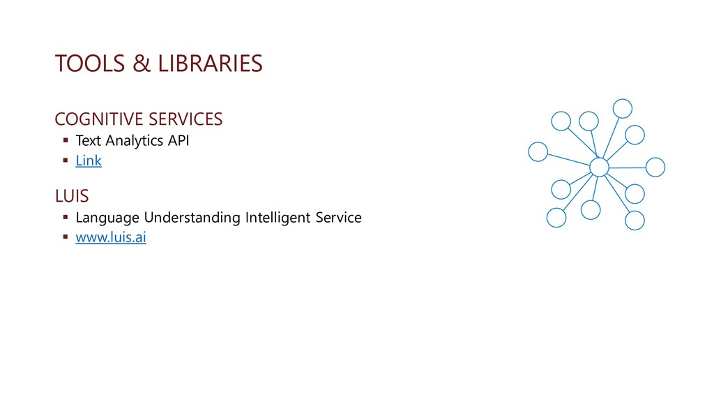 TOOLS & LIBRARIES COGNITIVE SERVICES ▪ Text Ana...