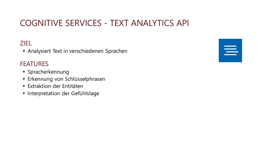 COGNITIVE SERVICES - TEXT ANALYTICS API ZIEL ▪ ...