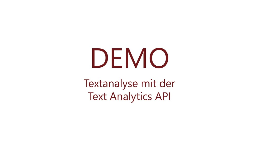 DEMO Textanalyse mit der Text Analytics API