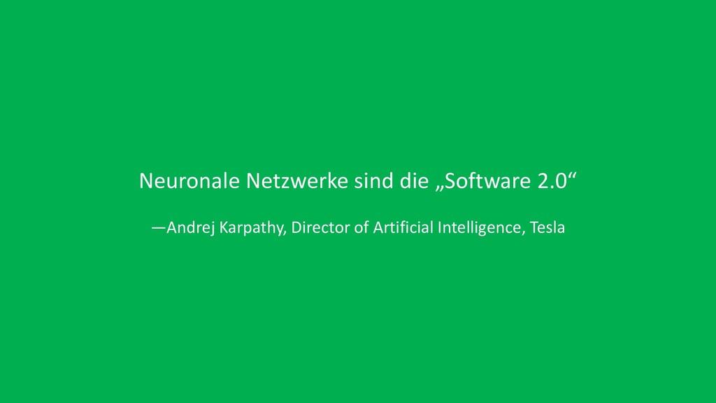 "Neuronale Netzwerke sind die ""Software 2.0"" —An..."