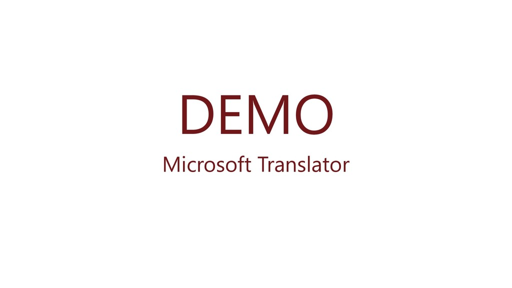 DEMO Microsoft Translator