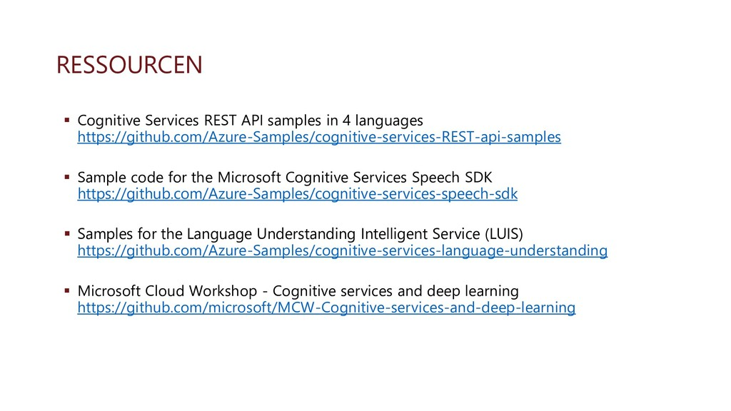 RESSOURCEN ▪ Cognitive Services REST API sample...