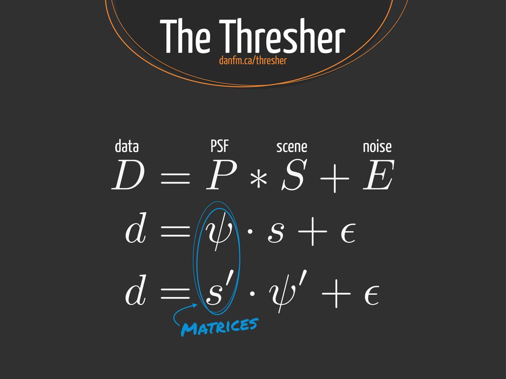 The Thresher D = P ⇤ S + E data PSF scene noise...