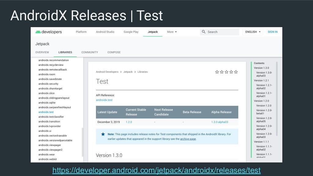 AndroidX Releases | Test https://developer.andr...