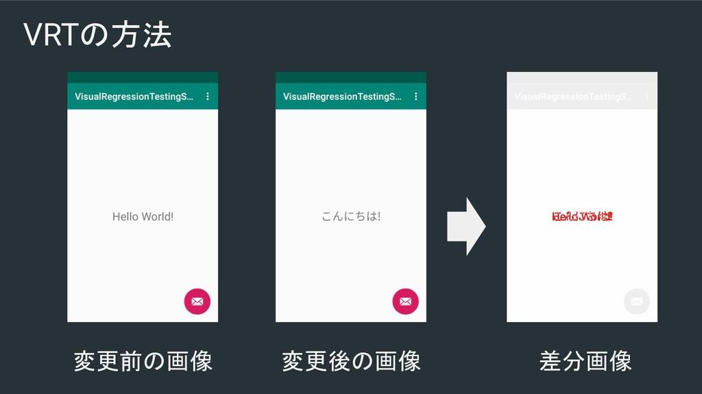 VRTの方法 変更前の画像 変更後の画像 差分画像