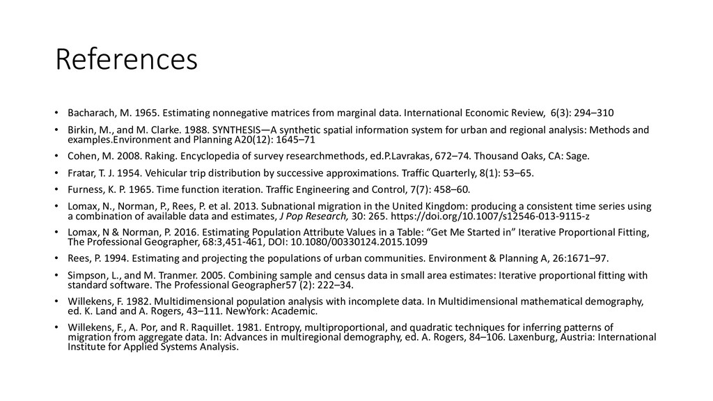 References • Bacharach, M. 1965. Estimating non...