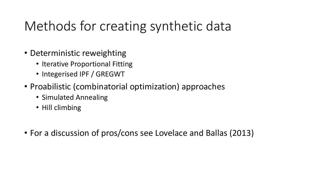 Methods for creating synthetic data • Determini...