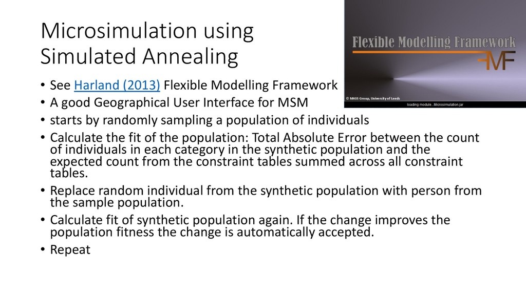 Microsimulation using Simulated Annealing • See...