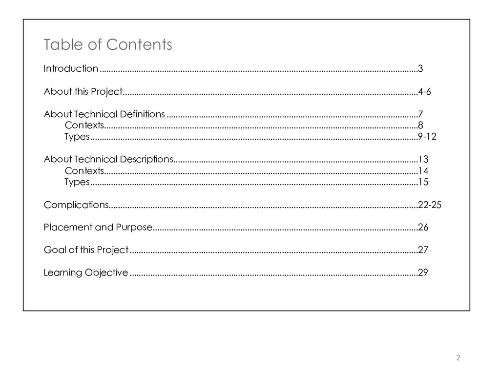 2 Table of Contents Introduction .................