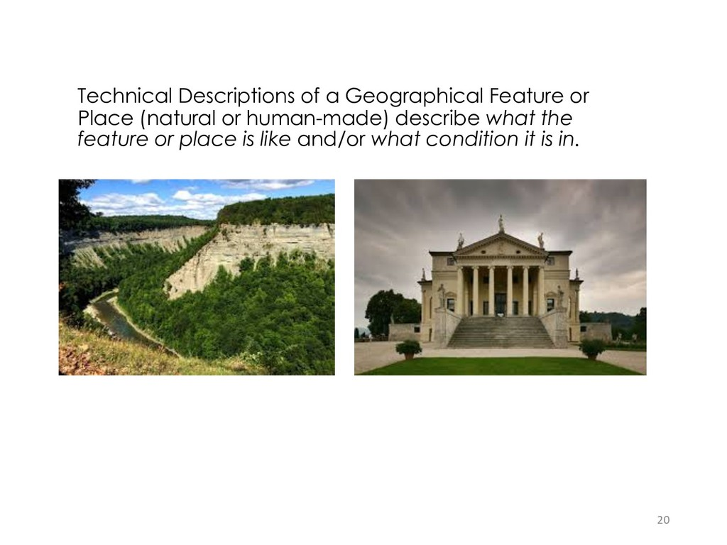 Technical Descriptions of a Geographical Featur...