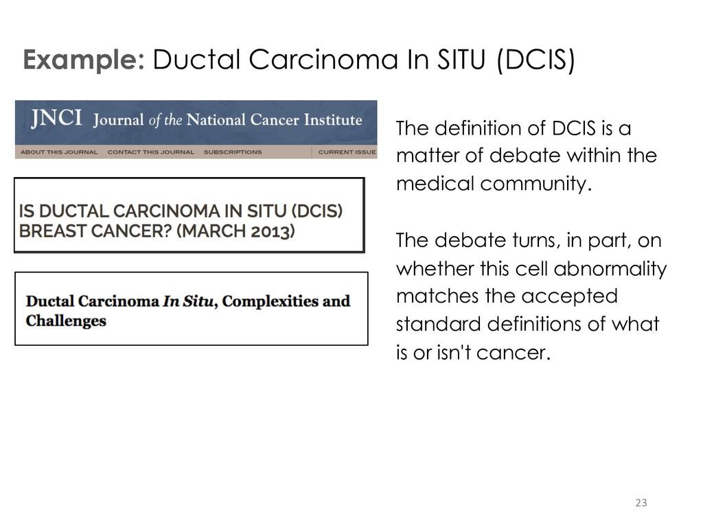 Example: Ductal Carcinoma In SITU (DCIS) 23 The...