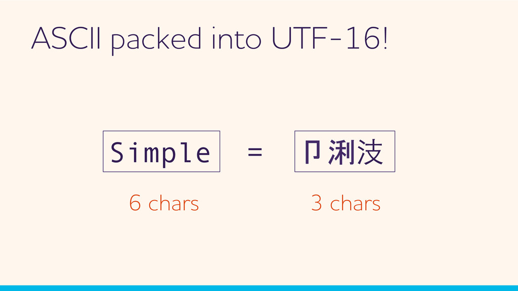 SCII packed into UTF-16! Simple = 卩浰汥 6 chars ...