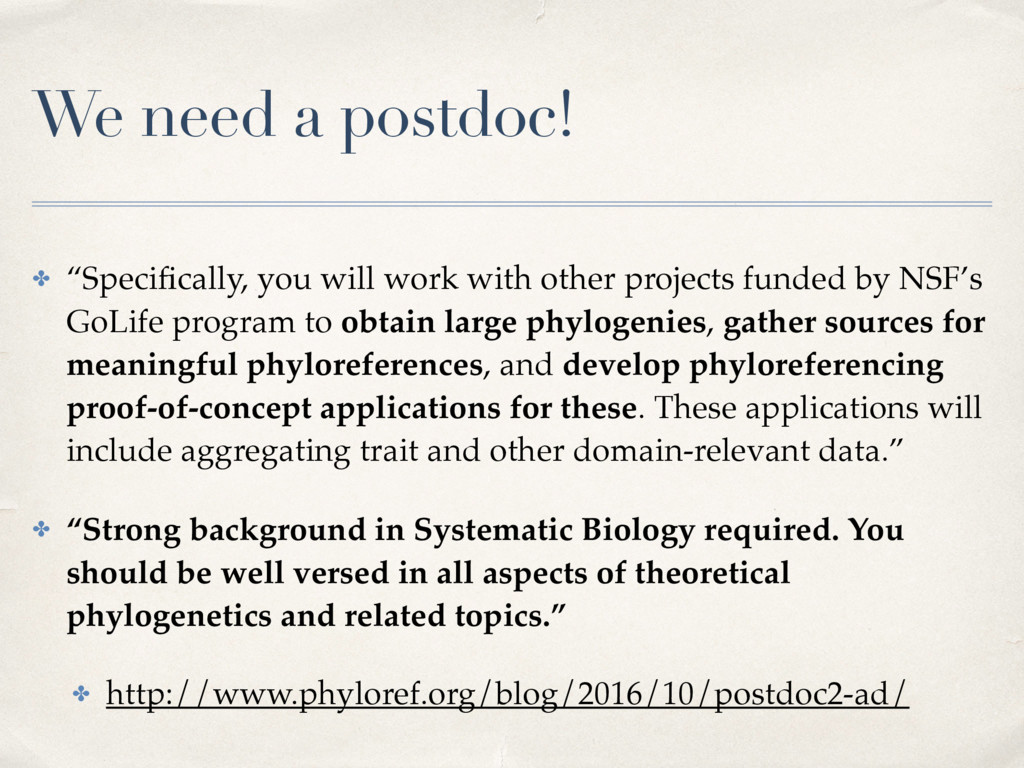 "We need a postdoc! ✤ ""Specifically, you will wor..."