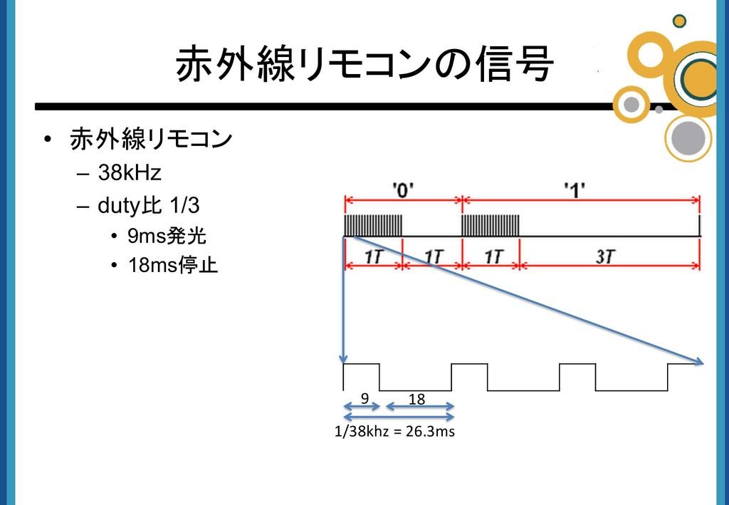 • 赤外線リモコン – 38kHz – duty比 1/3 • 9ms発光 • 18ms停止 ...