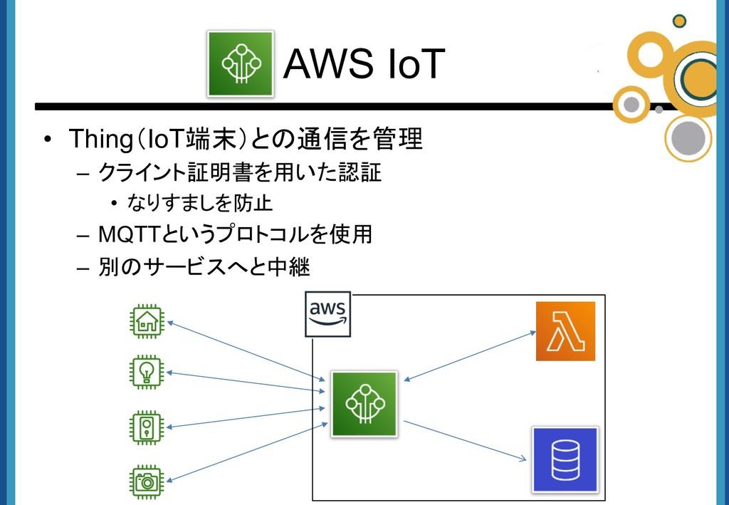 • Thing(IoT端末)との通信を管理 – クライント証明書を用いた認証 • なりすましを...
