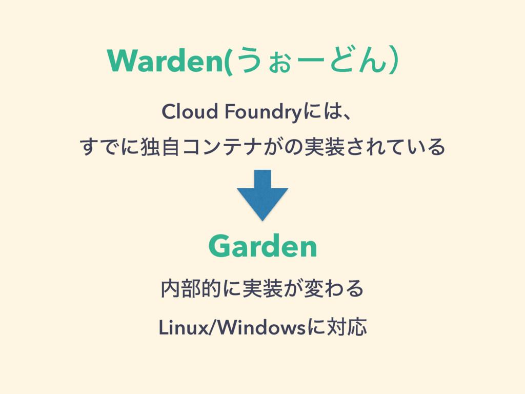 Warden(͏͒ʔͲΜʣ Cloud Foundryʹɺ ͢Ͱʹಠࣗίϯςφ͕ͷ࣮͞Ε...