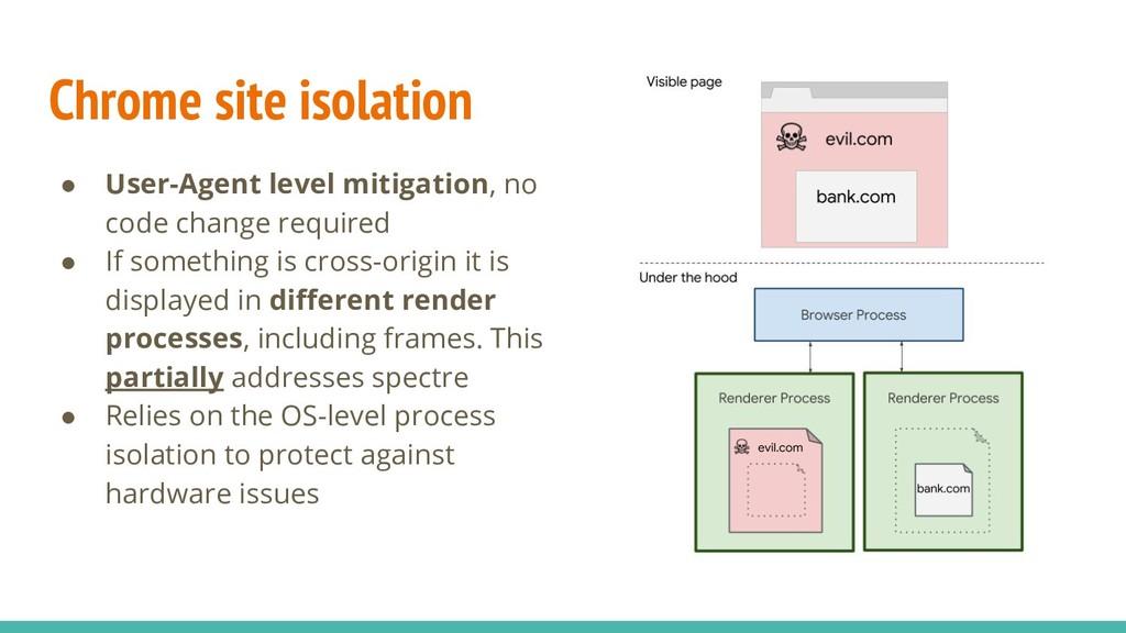 Chrome site isolation ● User-Agent level mitiga...
