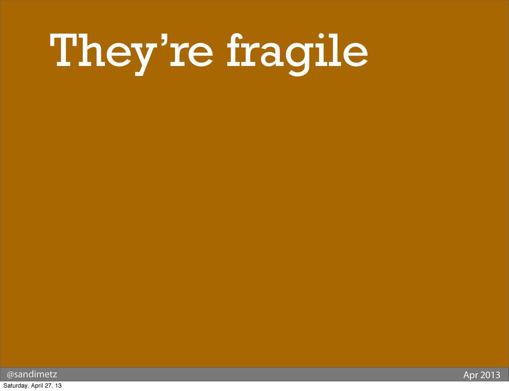 @sandimetz Apr 2013 They're fragile Saturday, A...