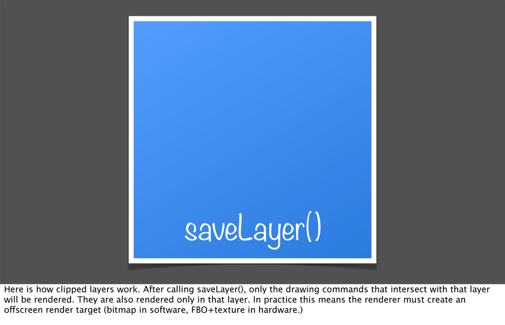saveLayer() Here is how clipped layers work. Af...